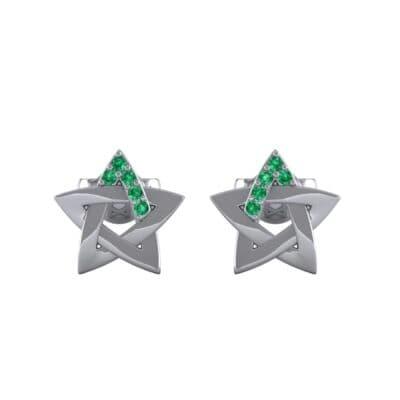 Pentagram Emerald Earrings (0.05 CTW) Side View