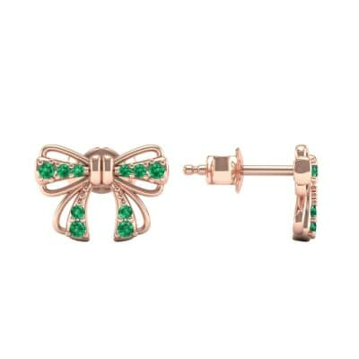 Bow Emerald Earrings (0.25 CTW) Top Dynamic View