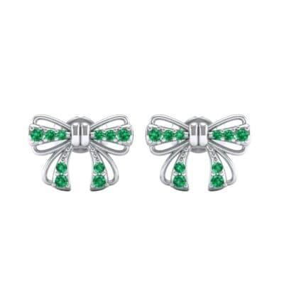 Bow Emerald Earrings (0.25 CTW) Side View