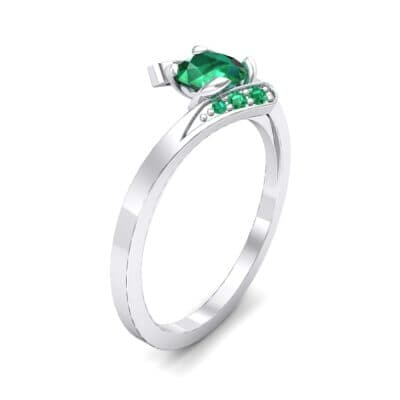Cradle Illusion Bypass Emerald Engagement Ring (0.545 CTW)