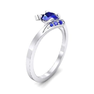 Cradle Illusion Bypass Blue Sapphire Engagement Ring (0.545 CTW)