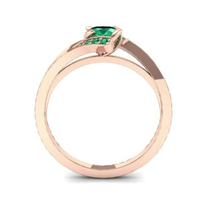 Cradle Illusion Bypass Emerald Engagement Ring (0.545 CTW) Side View