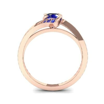 Cradle Illusion Bypass Blue Sapphire Engagement Ring (0.545 CTW) Side View