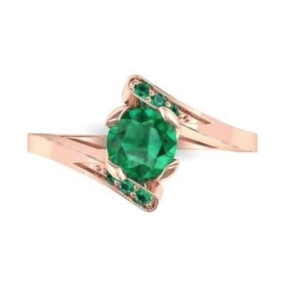 Cradle Illusion Bypass Emerald Engagement Ring (0.545 CTW) Top Flat View