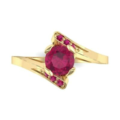 Cradle Illusion Bypass Ruby Engagement Ring (0.545 CTW) Top Flat View