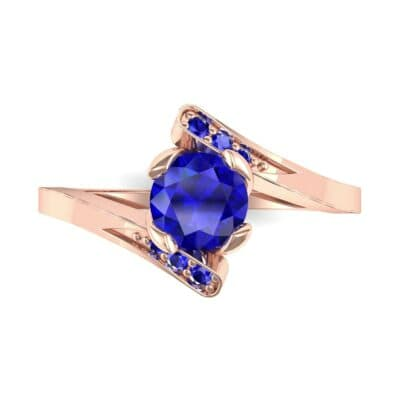 Cradle Illusion Bypass Blue Sapphire Engagement Ring (0.545 CTW) Top Flat View