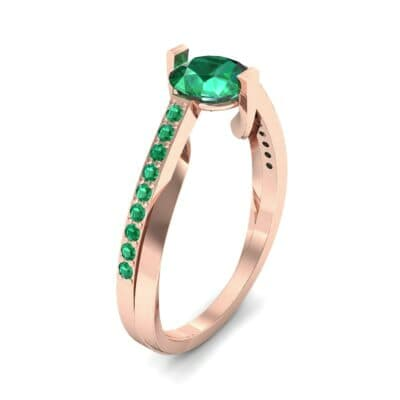 Cathedral Illusion Bypass Emerald Engagement Ring (0.83 CTW)