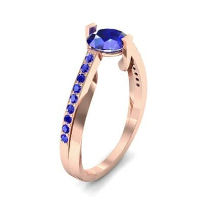 Cathedral Illusion Bypass Blue Sapphire Engagement Ring (0.83 CTW)