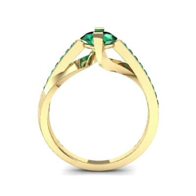 Cathedral Illusion Bypass Emerald Engagement Ring (0.83 CTW) Side View