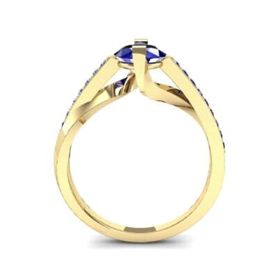Cathedral Illusion Bypass Blue Sapphire Engagement Ring (0.83 CTW) Side View