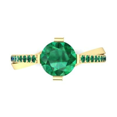 Cathedral Illusion Bypass Emerald Engagement Ring (0.83 CTW) Top Flat View