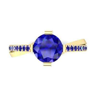 Cathedral Illusion Bypass Blue Sapphire Engagement Ring (0.83 CTW) Top Flat View