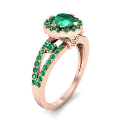 Gilda Split Shank Halo Emerald Engagement Ring (1.39 CTW)