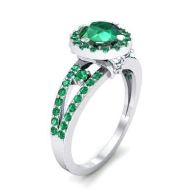 Gilda Split Shank Halo Emerald Engagement Ring (1.39 CTW)