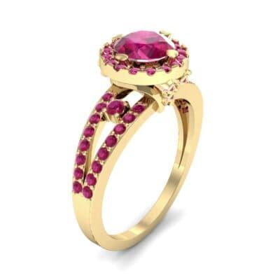 Gilda Split Shank Halo Ruby Engagement Ring (1.39 CTW)