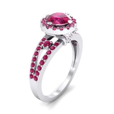 Gilda Split Shank Halo Ruby Engagement Ring (1.39 CTW)