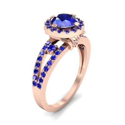 Gilda Split Shank Halo Blue Sapphire Engagement Ring (1.39 CTW) Perspective View