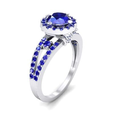 Gilda Split Shank Halo Blue Sapphire Engagement Ring (1.39 CTW)