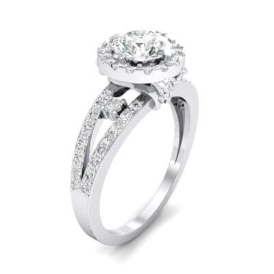 Gilda Split Shank Halo Crystal Engagement Ring (1.39 CTW)