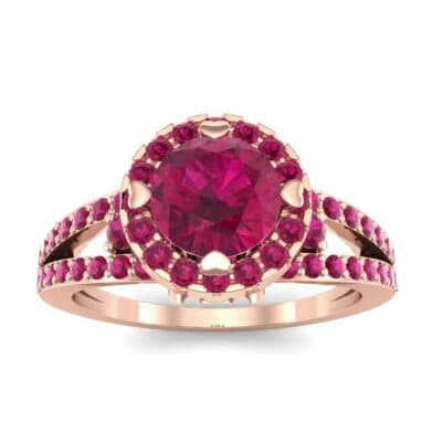 Gilda Split Shank Halo Ruby Engagement Ring (1.39 CTW) Top Dynamic View