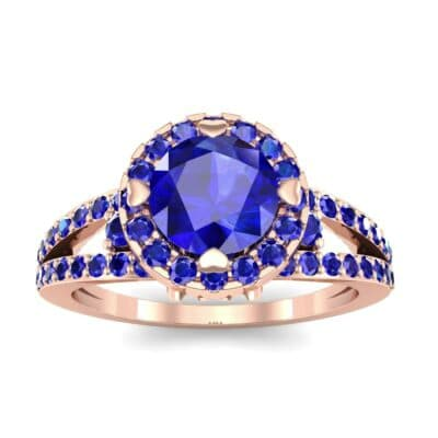 Gilda Split Shank Halo Blue Sapphire Engagement Ring (1.39 CTW) Top Dynamic View