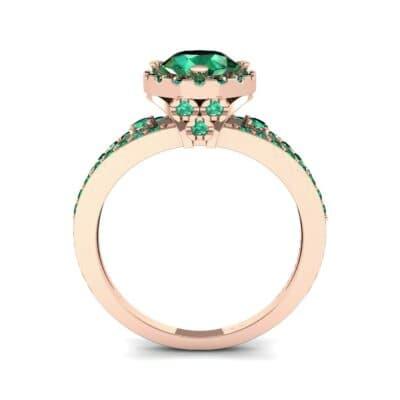 Gilda Split Shank Halo Emerald Engagement Ring (1.39 CTW) Side View