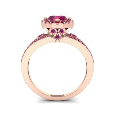 Gilda Split Shank Halo Ruby Engagement Ring (1.39 CTW) Side View