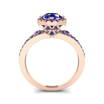 Gilda Split Shank Halo Blue Sapphire Engagement Ring (1.39 CTW) Side View
