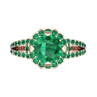 Gilda Split Shank Halo Emerald Engagement Ring (1.39 CTW) Top Flat View