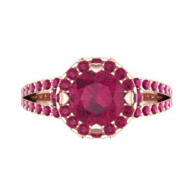 Gilda Split Shank Halo Ruby Engagement Ring (1.39 CTW) Top Flat View