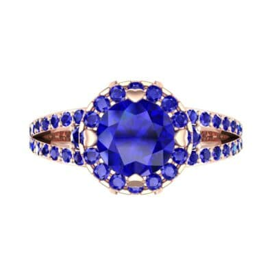 Gilda Split Shank Halo Blue Sapphire Engagement Ring (1.39 CTW) Top Flat View