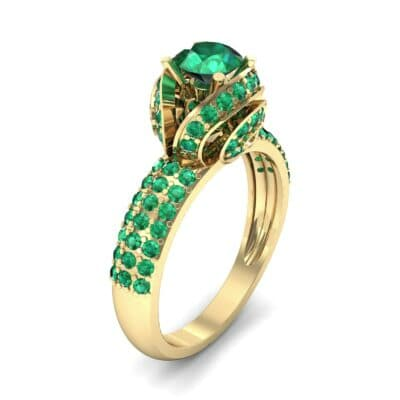 Triple Pave Grotto Emerald Engagement Ring (1.31 CTW)