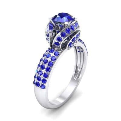 Triple Pave Grotto Blue Sapphire Engagement Ring (1.31 CTW) Perspective View