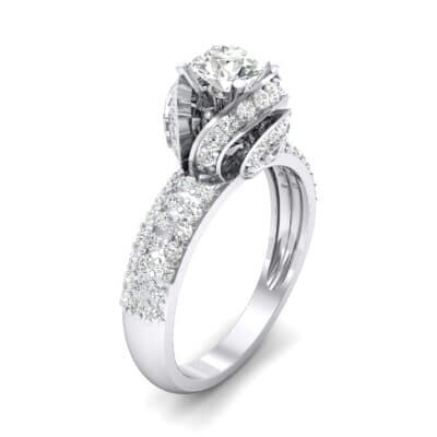 Triple Pave Grotto Diamond Engagement Ring (1.31 CTW) Perspective View