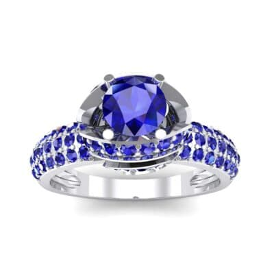 Triple Pave Grotto Blue Sapphire Engagement Ring (1.31 CTW) Top Dynamic View