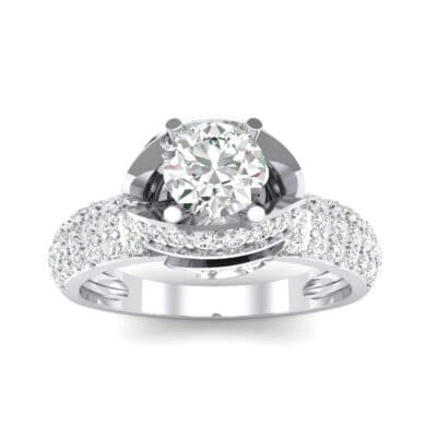 Triple Pave Grotto Diamond Engagement Ring (1.31 CTW) Top Dynamic View