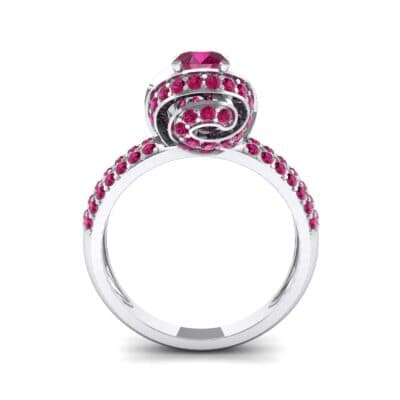 Triple Pave Grotto Ruby Engagement Ring (1.31 CTW) Side View