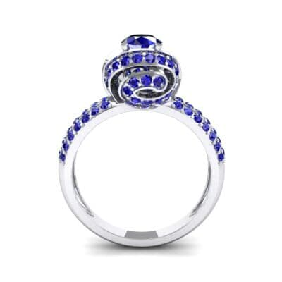 Triple Pave Grotto Blue Sapphire Engagement Ring (1.31 CTW) Side View