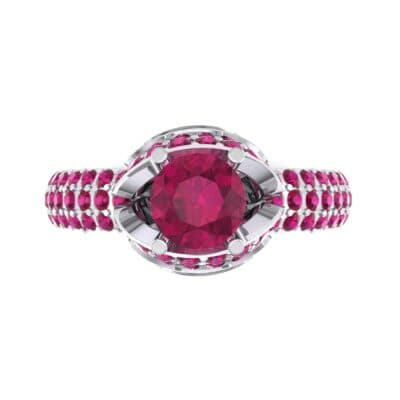 Triple Pave Grotto Ruby Engagement Ring (1.31 CTW) Top Flat View