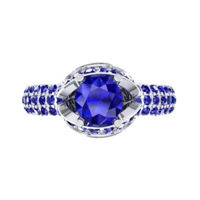 Triple Pave Grotto Blue Sapphire Engagement Ring (1.31 CTW) Top Flat View