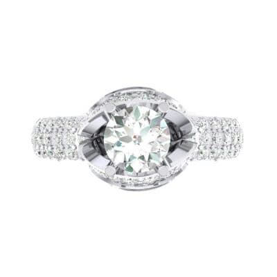 Triple Pave Grotto Diamond Engagement Ring (1.31 CTW) Top Flat View