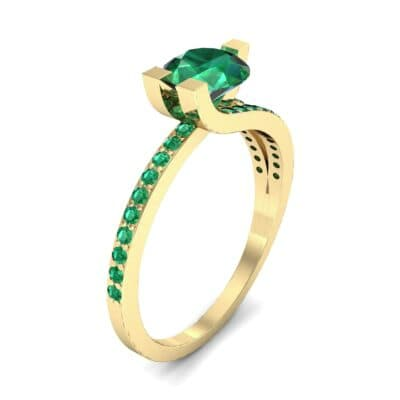Asymmetrical Three-Prong Emerald Engagement Ring (1.17 CTW)