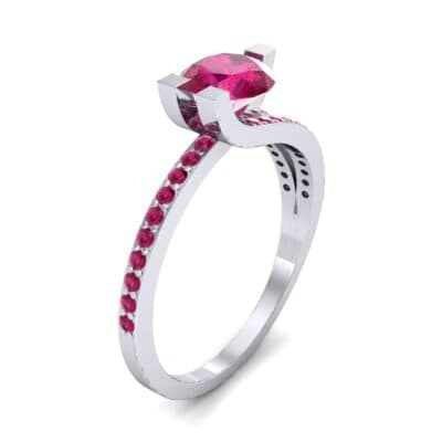 Asymmetrical Three-Prong Ruby Engagement Ring (1.17 CTW) Perspective View