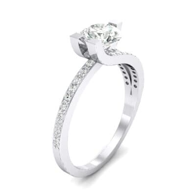 Asymmetrical Three-Prong Diamond Engagement Ring (1.17 CTW)