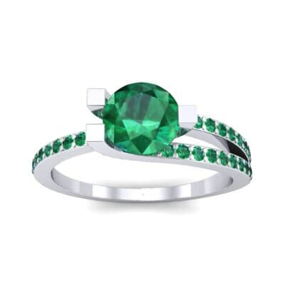 Asymmetrical Three-Prong Emerald Engagement Ring (1.17 CTW) Top Dynamic View