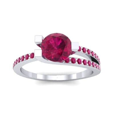 Asymmetrical Three-Prong Ruby Engagement Ring (1.17 CTW) Top Dynamic View