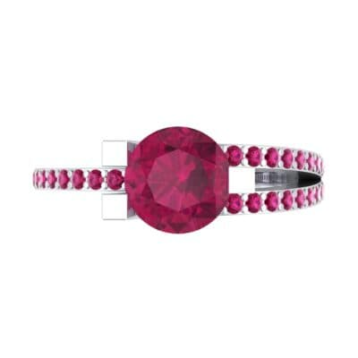 Asymmetrical Three-Prong Ruby Engagement Ring (1.17 CTW) Top Flat View