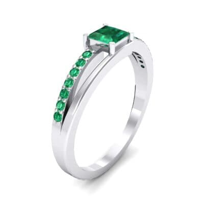 Princess-Cut Bypass Emerald Engagement Ring (0.53 CTW) Perspective View