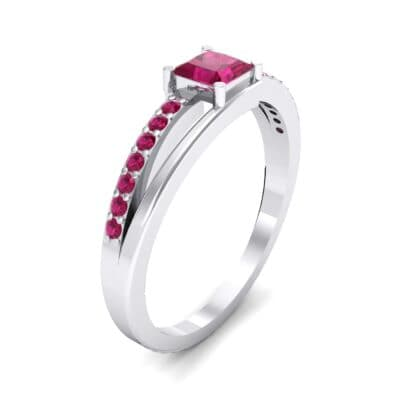 Princess-Cut Bypass Ruby Engagement Ring (0.53 CTW)