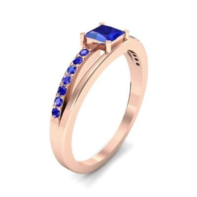 Princess-Cut Bypass Blue Sapphire Engagement Ring (0.53 CTW)